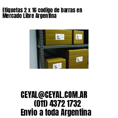 Etiquetas 2 x 16 codigo de barras en Mercado Libre Argentina