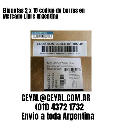 Etiquetas 2 x 18 codigo de barras en Mercado Libre Argentina