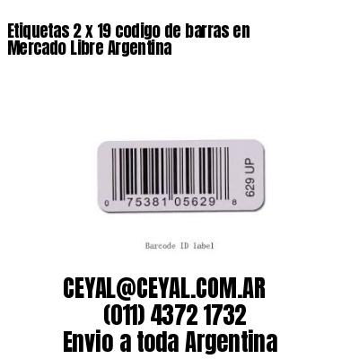 Etiquetas 2 x 19 codigo de barras en Mercado Libre Argentina