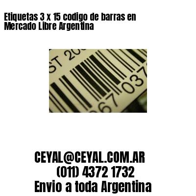 Etiquetas 3 x 15 codigo de barras en Mercado Libre Argentina