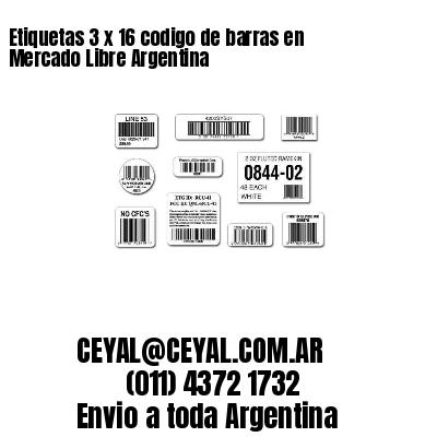 Etiquetas 3 x 16 codigo de barras en Mercado Libre Argentina
