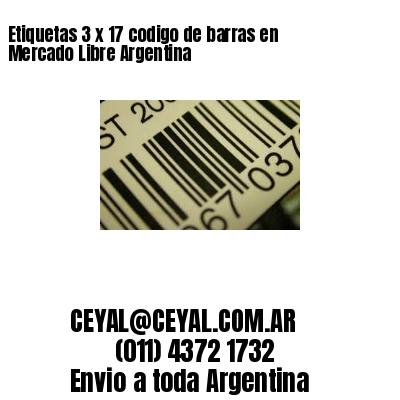 Etiquetas 3 x 17 codigo de barras en Mercado Libre Argentina