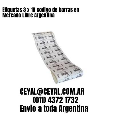 Etiquetas 3 x 18 codigo de barras en Mercado Libre Argentina