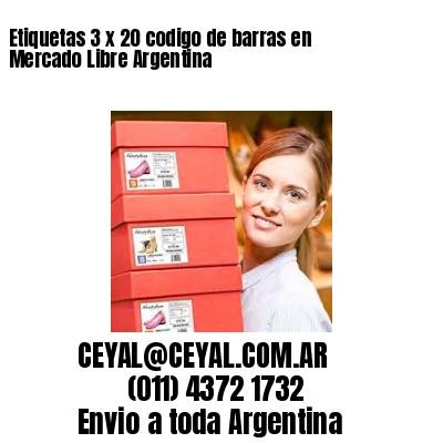 Etiquetas 3 x 20 codigo de barras en Mercado Libre Argentina