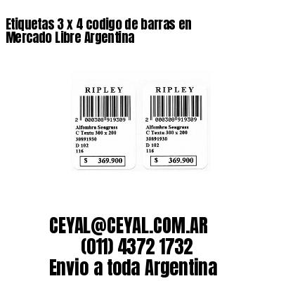 Etiquetas 3 x 4 codigo de barras en Mercado Libre Argentina