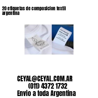 20 etiquetas de composicion textil argentina