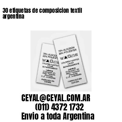 30 etiquetas de composicion textil argentina