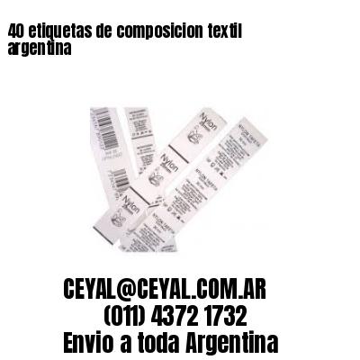 40 etiquetas de composicion textil argentina