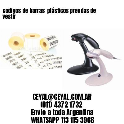 codigos de barras  plásticos prendas de vestir