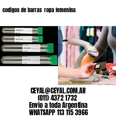 codigos de barras  ropa femenina