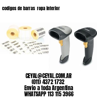 codigos de barras  ropa interior