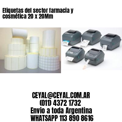 Etiquetas del sector farmacia y cosmética 20 x 20Mm