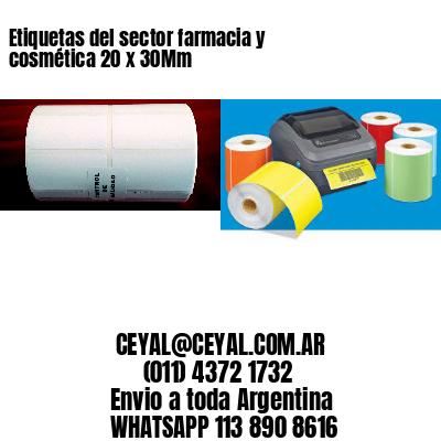 Etiquetas del sector farmacia y cosmética 20 x 30Mm