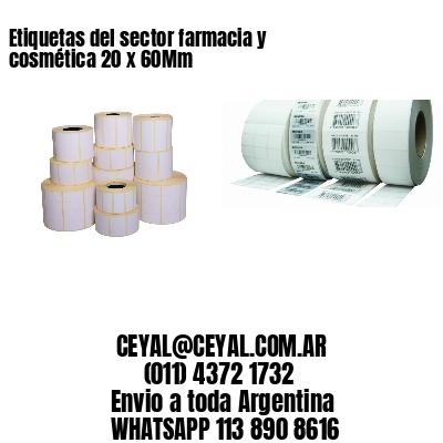 Etiquetas del sector farmacia y cosmética 20 x 60Mm