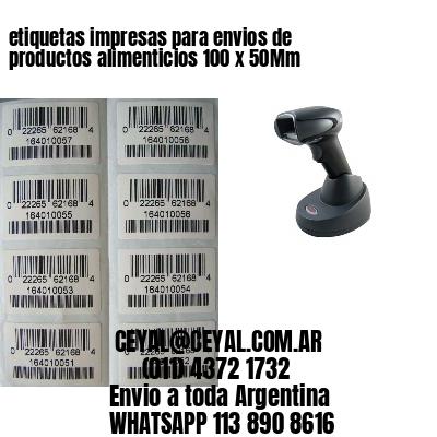 etiquetas impresas para envios de productos alimenticios 100 x 50Mm