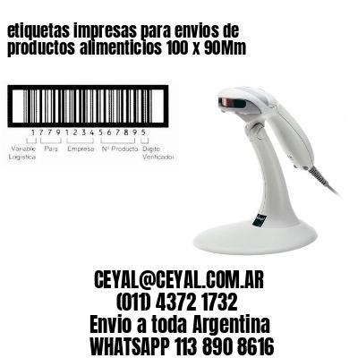 etiquetas impresas para envios de productos alimenticios 100 x 90Mm