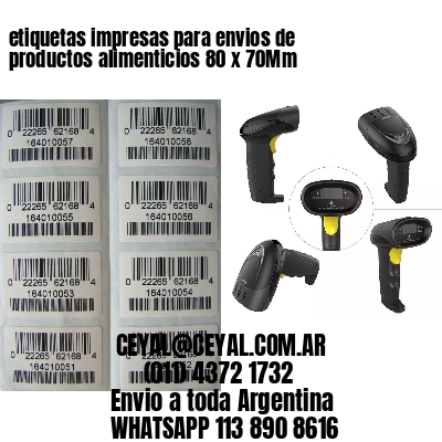 etiquetas impresas para envios de productos alimenticios 80 x 70Mm