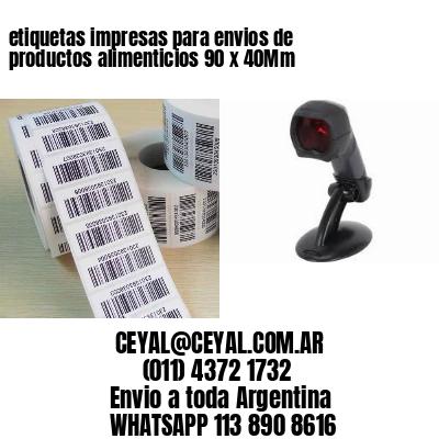 etiquetas impresas para envios de productos alimenticios 90 x 40Mm