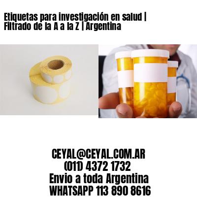 Etiquetas para investigación en salud   Filtrado de la A a la Z   Argentina