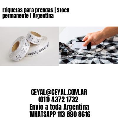 Etiquetas para prendas   Stock permanente   Argentina